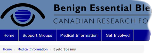 screen capture of blepharospasm.ca top navigation bar