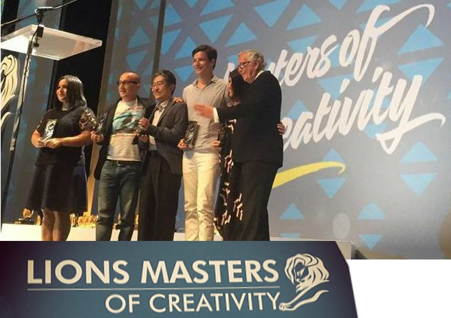 Jennifer Decamps receiving Golden Lion at Cannes